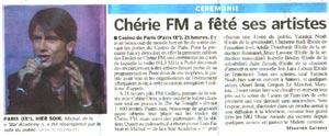 Trophées Chérie FM - Le Parisien 28/09/2005
