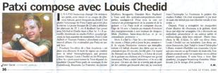 Article sur Patxi - Le Parisien du 18/04/2005