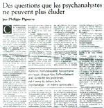 Des questions que les psychanalystes ne peuvent plus éluder - Philippe Pignarre - Le Monde du 16/09/2005