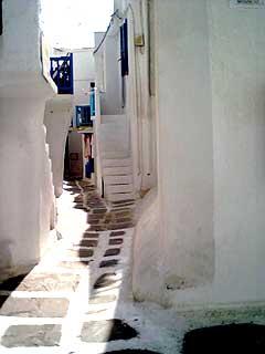 Le dédale de rues du centre-ville de Mykonos