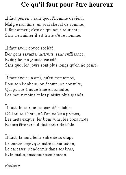 Ce qu'il faut pour être heureux - Voltaire