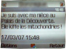"""sms """"je kiffe les mitochondries"""""""