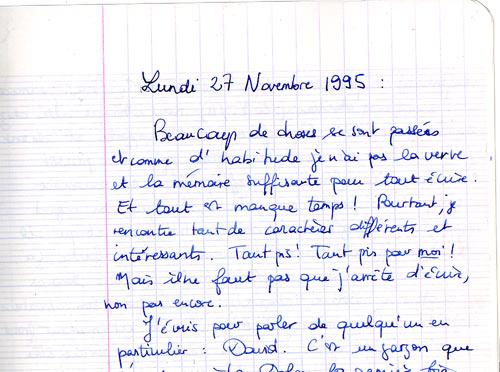 journal intime du 27/11/1995