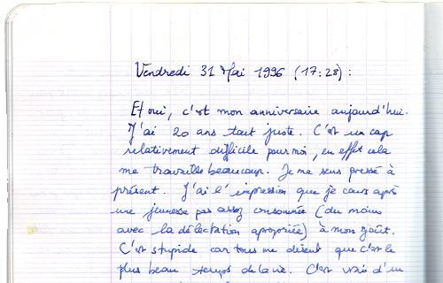 journal intime du 31/05/1996