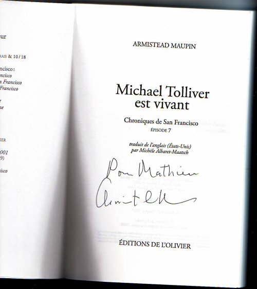 Michael Tolliver est vivant - Armistead Maupin - Dédicace