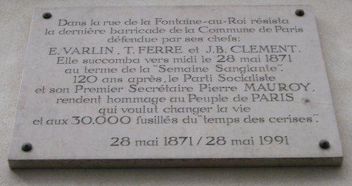 Plaque de commémoration de la dernière barricade de la Commune de Paris