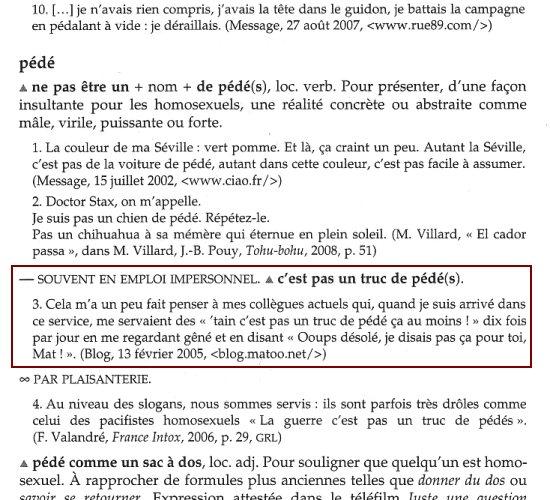 """Article """"pédé"""" du dictionnaire des expressions quotidiennes"""