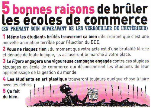 5 bonnes raisons de brûler les écoles de commerce - Fluide Glacial mars 2009