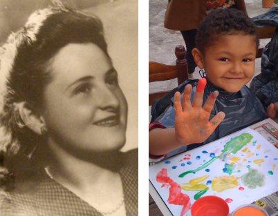 Ma grand-mère maternelle et mon petit cousin Tristan.