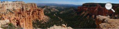 Bryce Canyon - Panorama entre deux prolongements rocheux