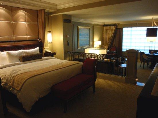 Vue du lit de la chambre au Venetian - Las Vegas