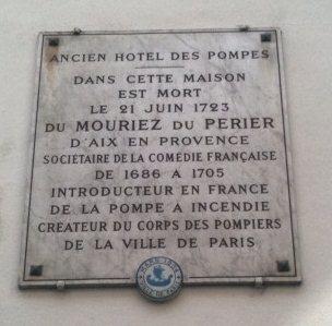 Plaque pour François du MOURIEZ du PERRIER (Dumouriez)
