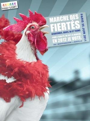 Affiche de la Gay Pride Parisienne 2011 - Coq avec boa à plumes