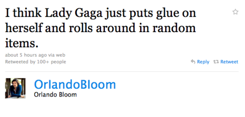 I think Lady Gaga just puts glue on herself and rolls around in random items.
