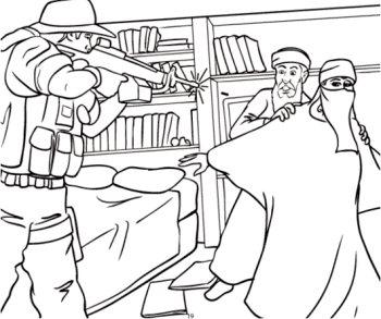 Extrait d'un cahier de coloriage pour expliquer le 11 septembre 2001 aux enfants