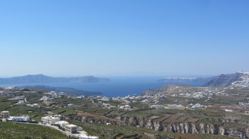 Vue du haut du village de Pirgos - Santorin