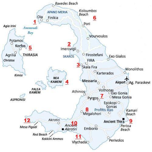 Carte générale de l'île de Santorin (Caldeira)
