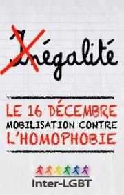 Mariage pour tous - manifestation contre l'homophobie du 16 décembre 2012