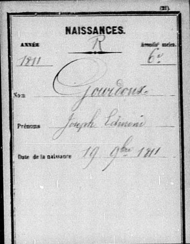 1811 - Acte de naissance de  Joseph Gourdoux à Paris 6ème
