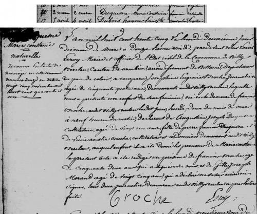 Acte de naissance de Marie Constance Gourdoux-Duquesne - 1835