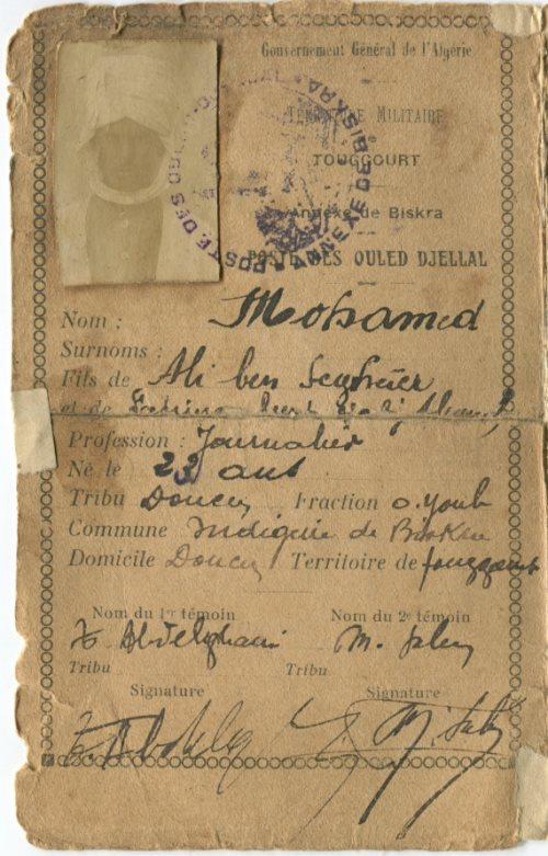Carte d'identité algérienne de mon grand-père - 1928