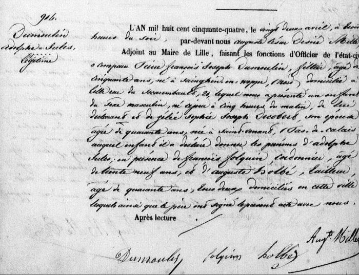 1854 -acte de naissance d'Adolphe Jules Dumoulin