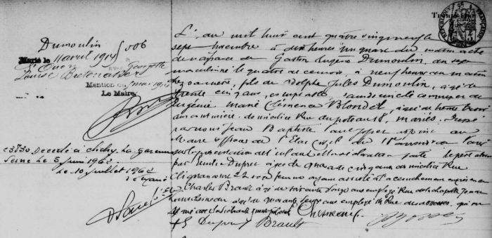 Acte de Naissance Gaston Dumoulin 1889