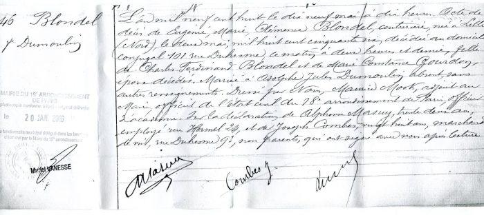 1906 acte de décès d'Eugénie Blondel