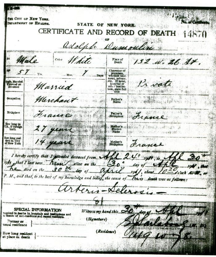 1911 acte de décès d'Adolphe Dumoulin
