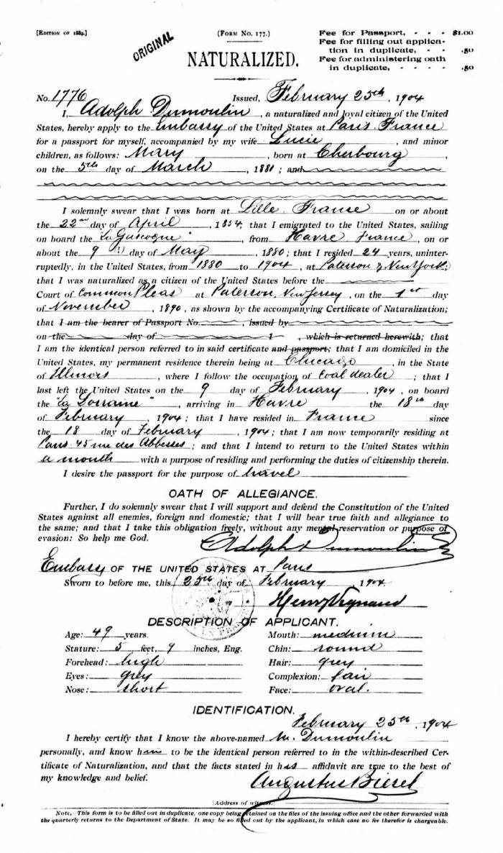 Demande de passeport à l'ambassade américaine à Paris 1904