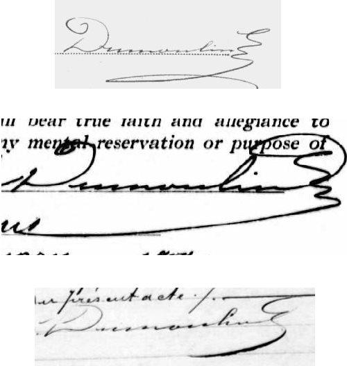 Signatures Adolphe Dumoulin