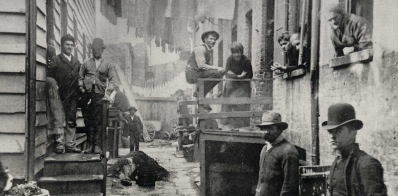 """""""Bandit's Roost, 1890, New York City."""" Photograph by Jacob Riis, featured in his book How the Other Half Lives (1890)"""