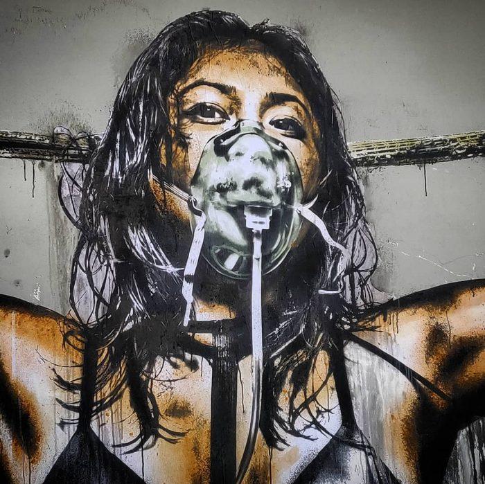 œuvre d'Eddie Colla dans la rue du Croissant, Paris.